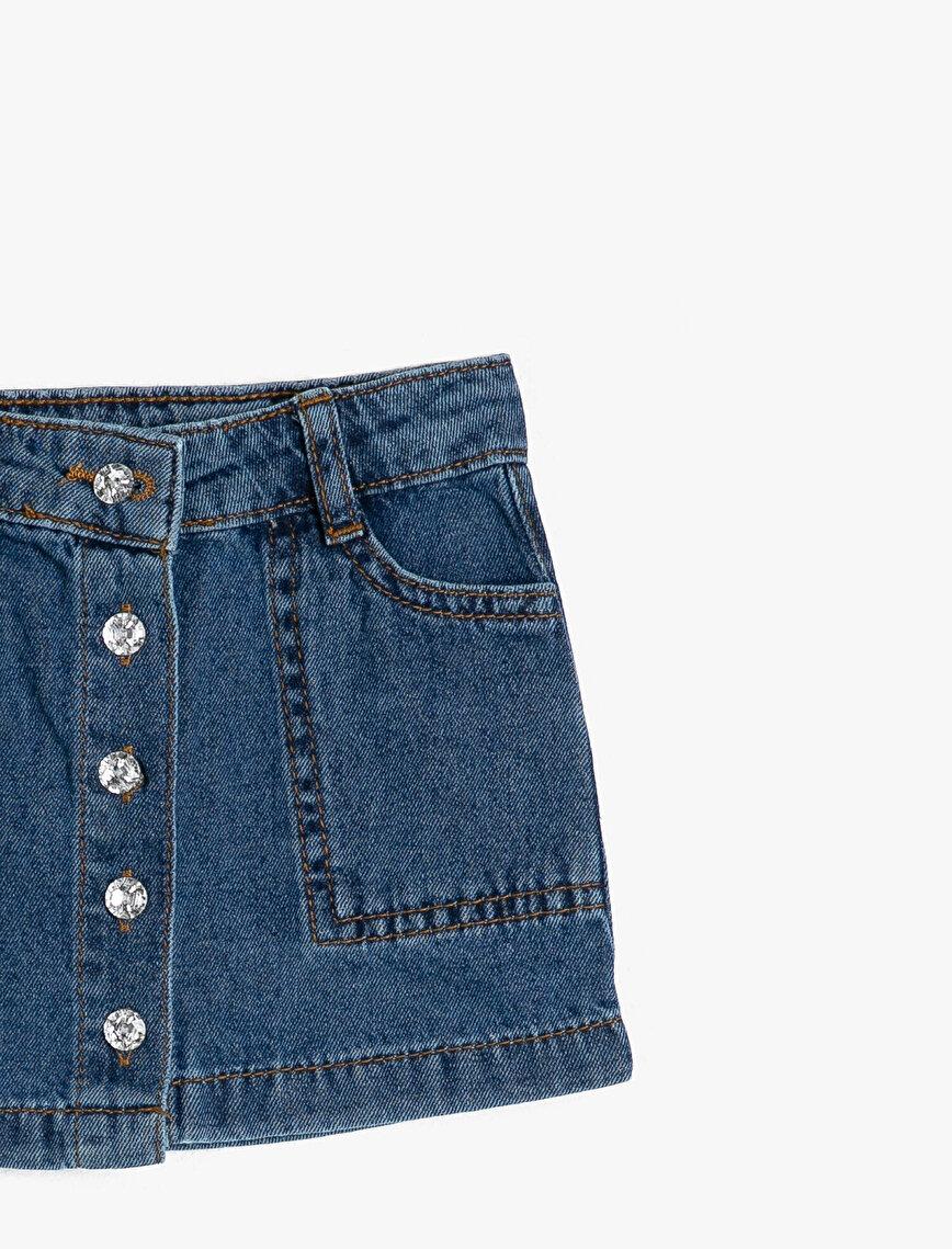 Pocket Detailed Jean Skirt