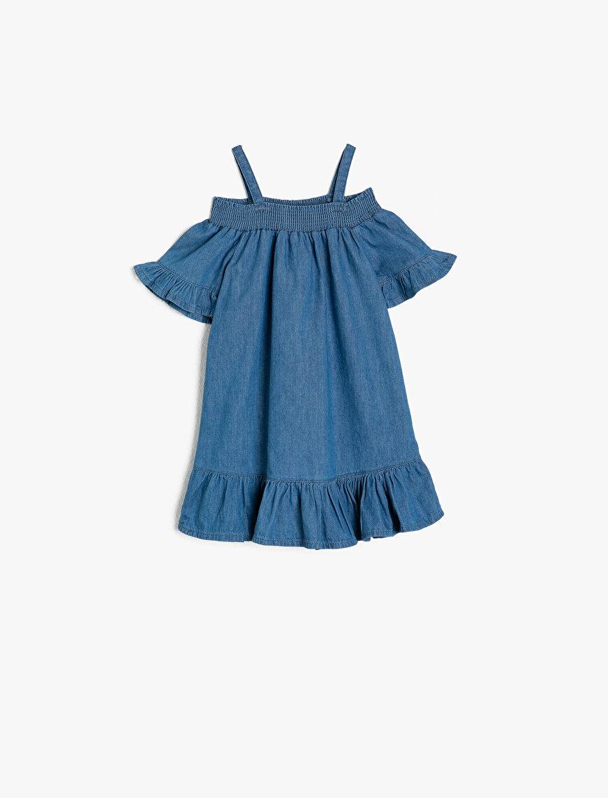 Frill Detailed Jean Dress