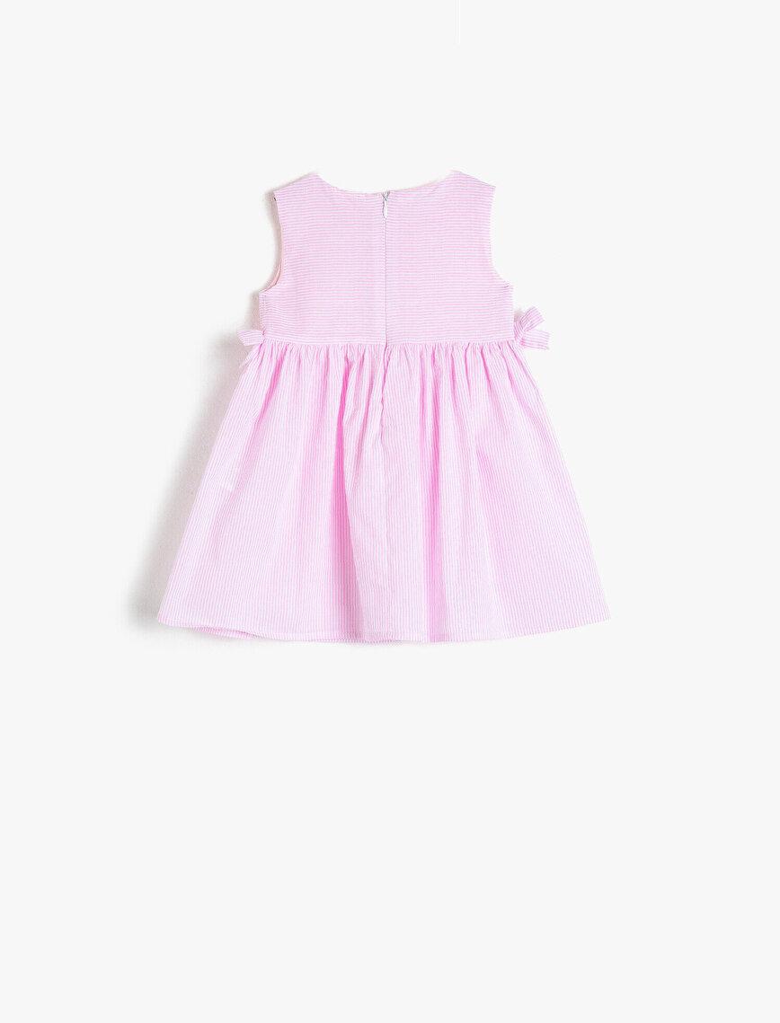 Pamuklu Düğmeli Çizgili Elbise