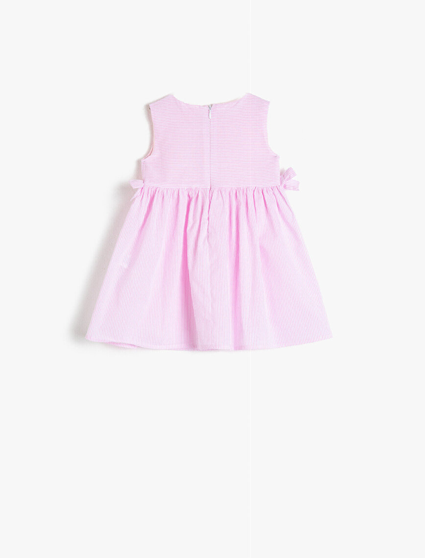 Cotton Button Detailed Striped Dress