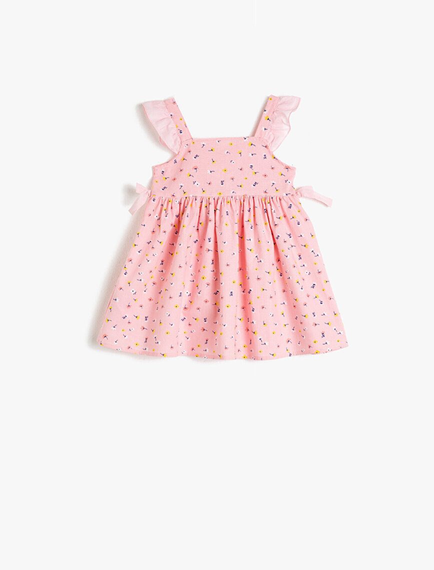 Pamuklu Çiçekli Volanlı Elbise