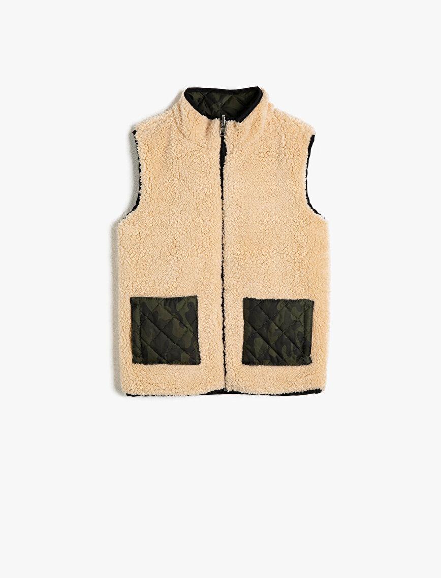 Zipper Detailed Plush Vest