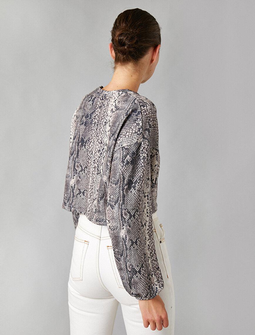 Yılan Desenli Uzun Kollu Sweatshirt