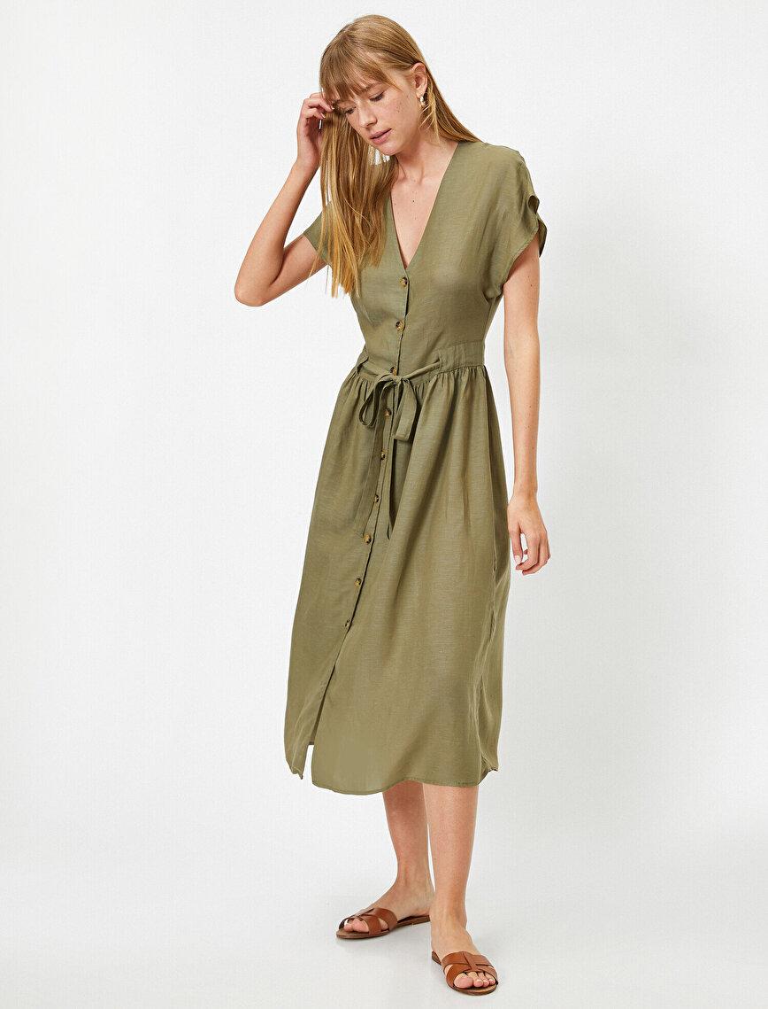 Kısa Kollu V Yaka Kemerli Önü Düğmeli Midi Elbise