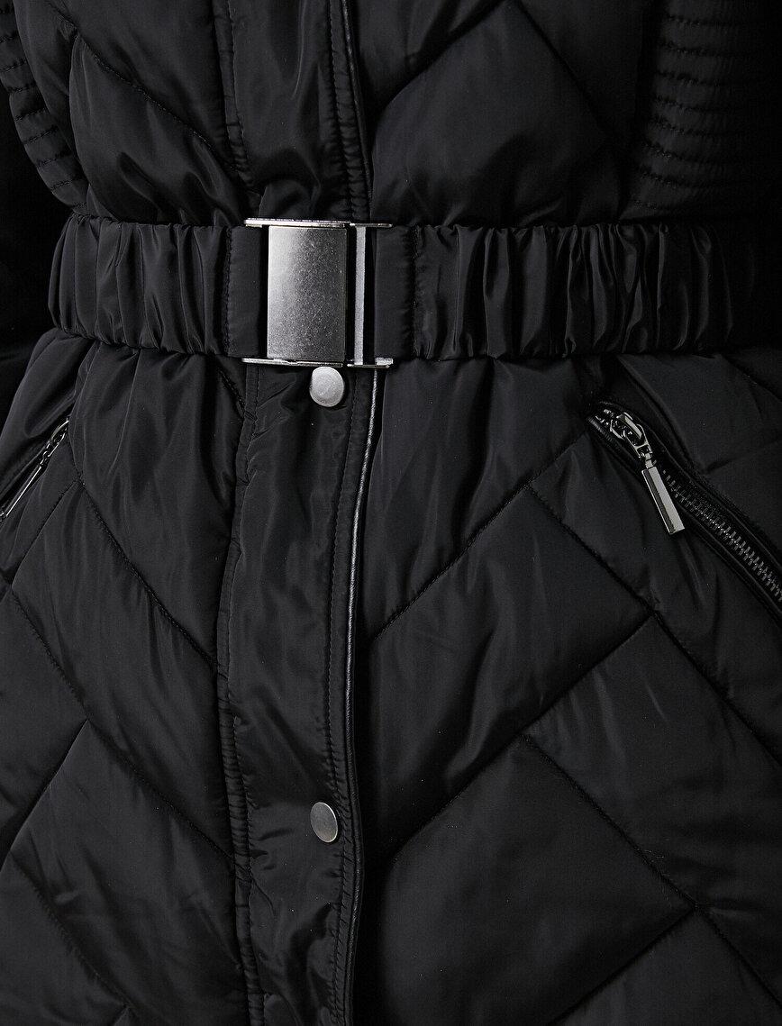 Hooded Faux Fur Detailed Coat