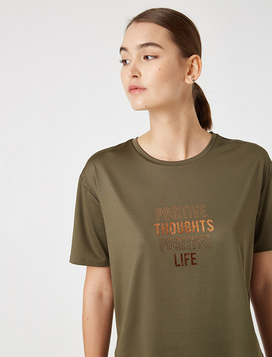 Respect Life | Yaşama Saygı - Ebru Şallı Loves Koton Crew Neck Short Sleeve Letter Printed T-Shirt