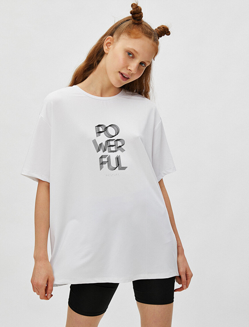Short Sleeve T-Shirt Crew Neck Slogan Printed Oversize