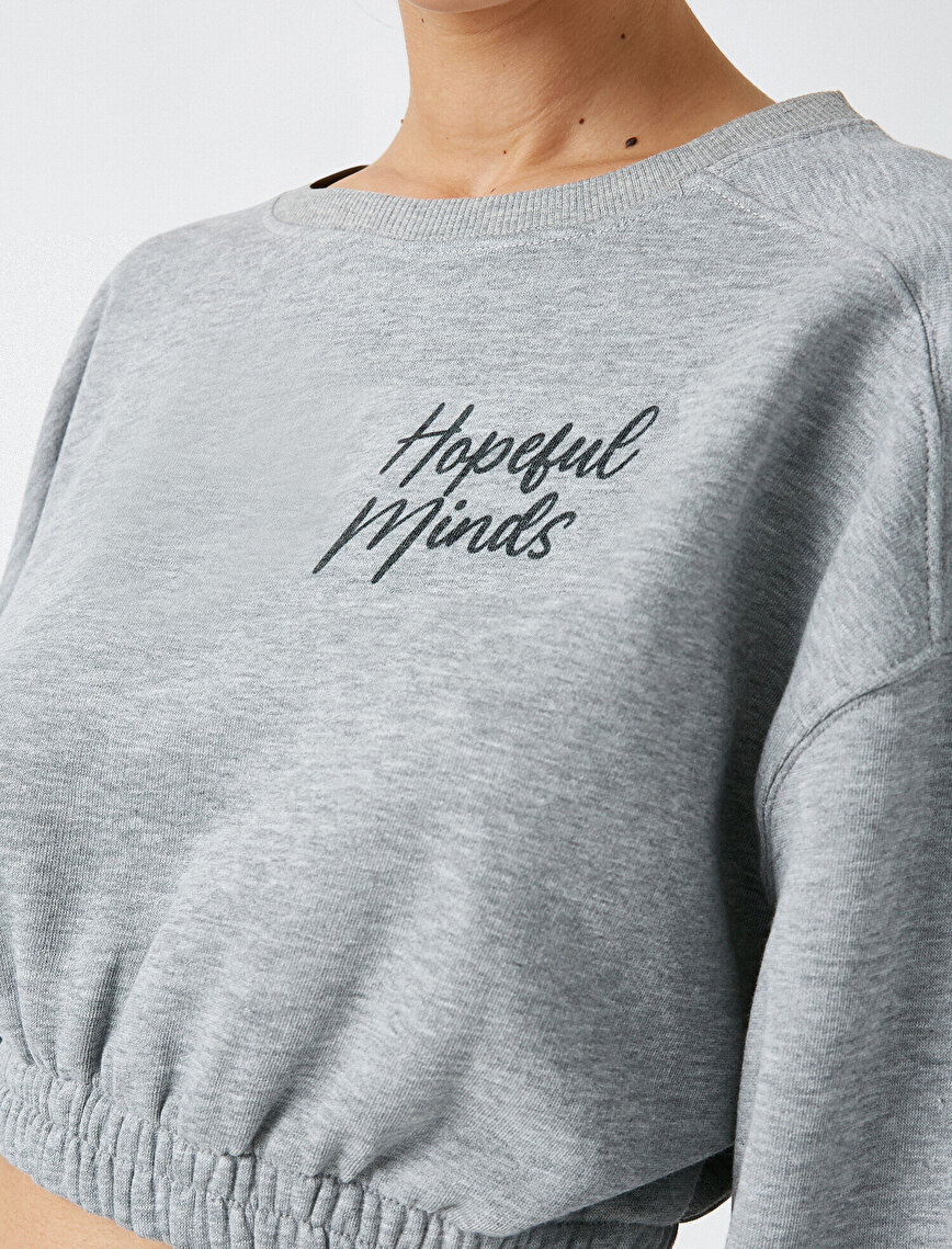 Respect Life | Yaşama Saygı - Crew Neck Letter Printed Crop Sweatshirt