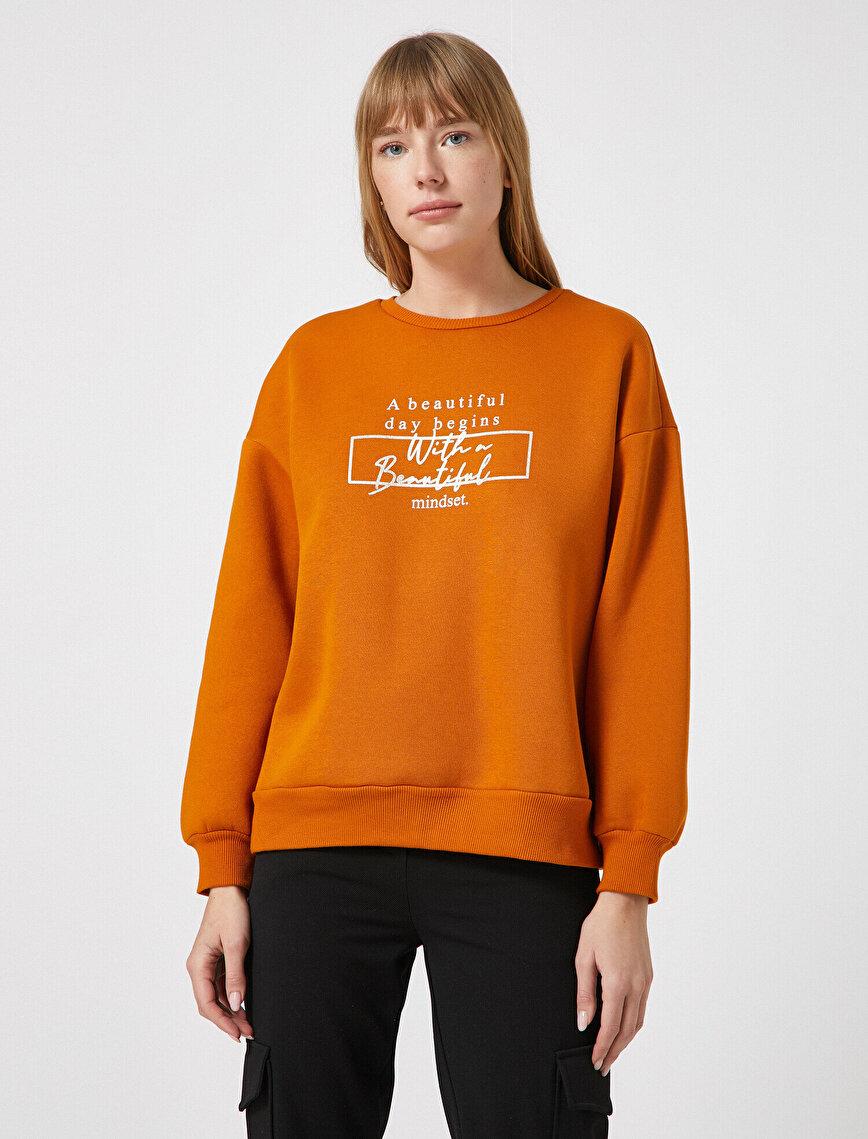 Pamuklu Bisiklet Yaka Yazılı Baskılı Sweatshirt