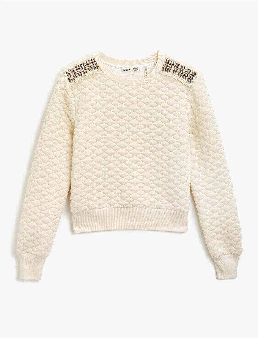 Beaded Quilted Sweatshirt