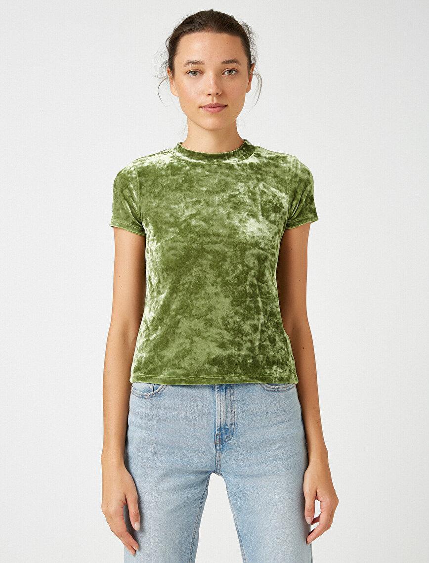 Balıkçı Yaka Kadife T-Shirt