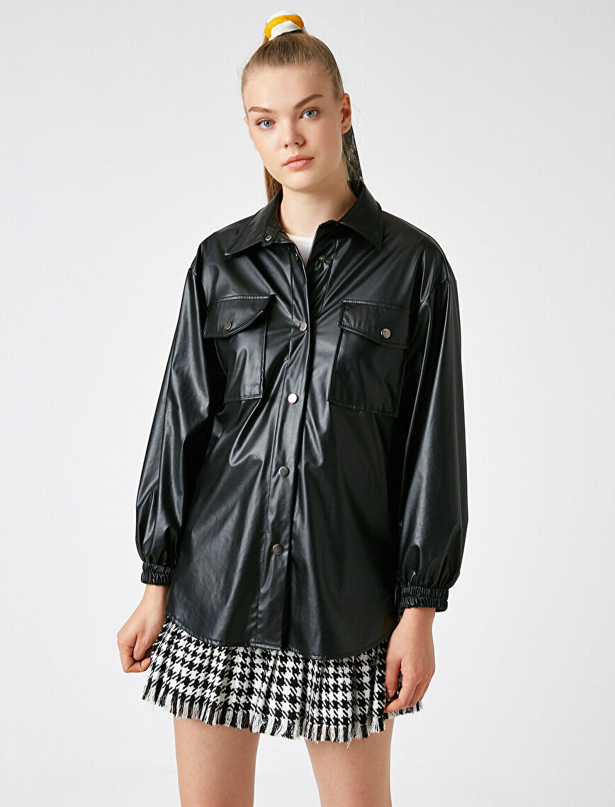 Faux Leather Oversize Pocket Detailed Button Jacket