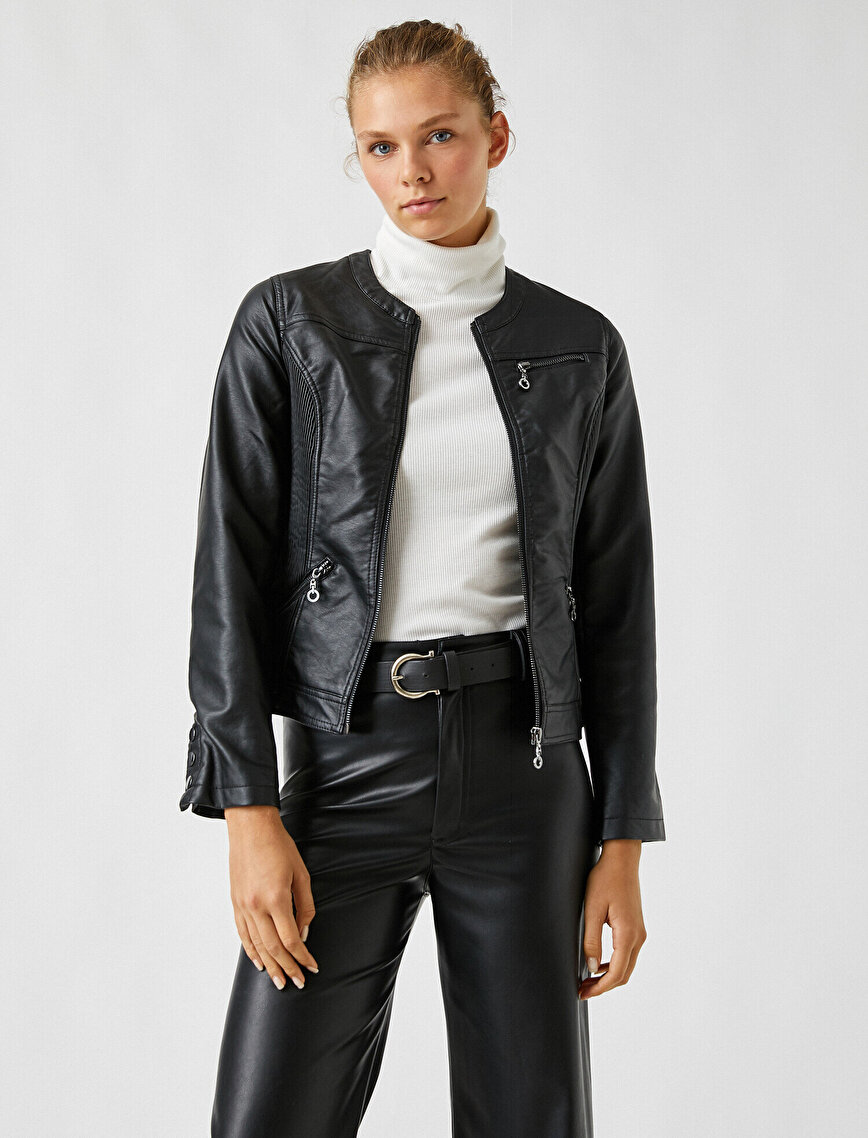 Deri Görünümlü Fermuarlı Ceket