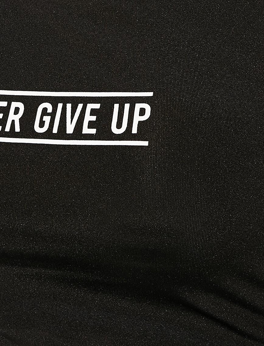 Slogan Baskılı Spor Sütyeni