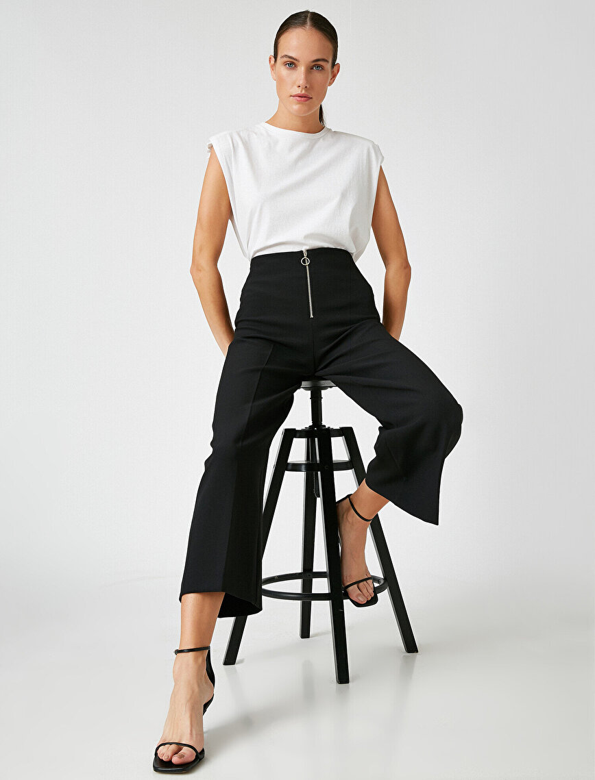 Fermuarlı Crop Pantolon