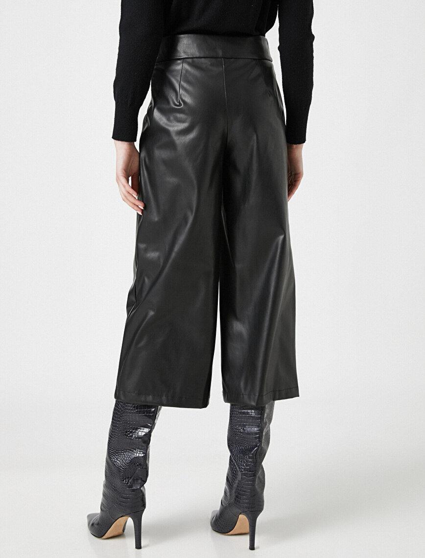 Suni Deri Görünümlü Crop Pantolon