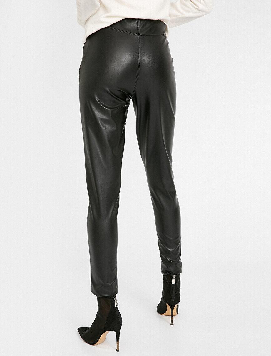 Fermuarlı Deri Görünümlü Pantolon