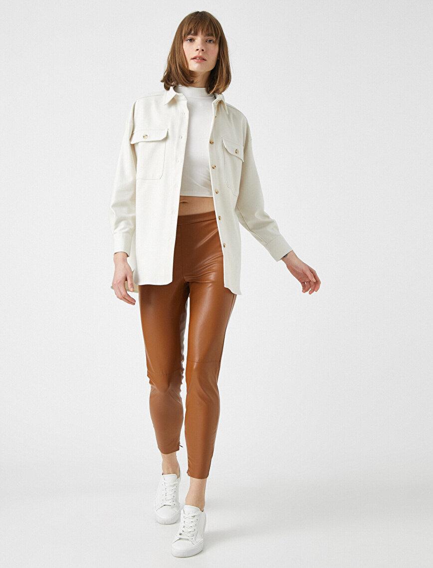 Deri Görünümlü Pantolon