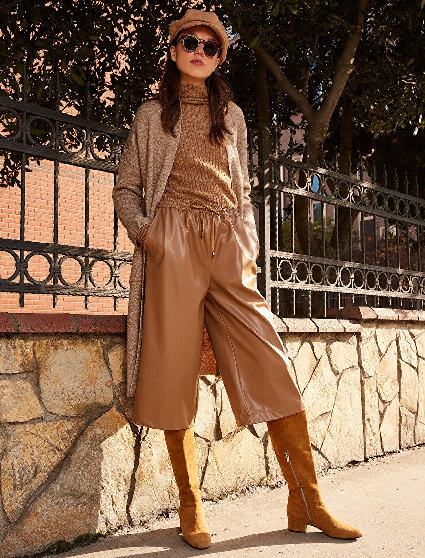 Deri Görünümlü Crop Pantolon