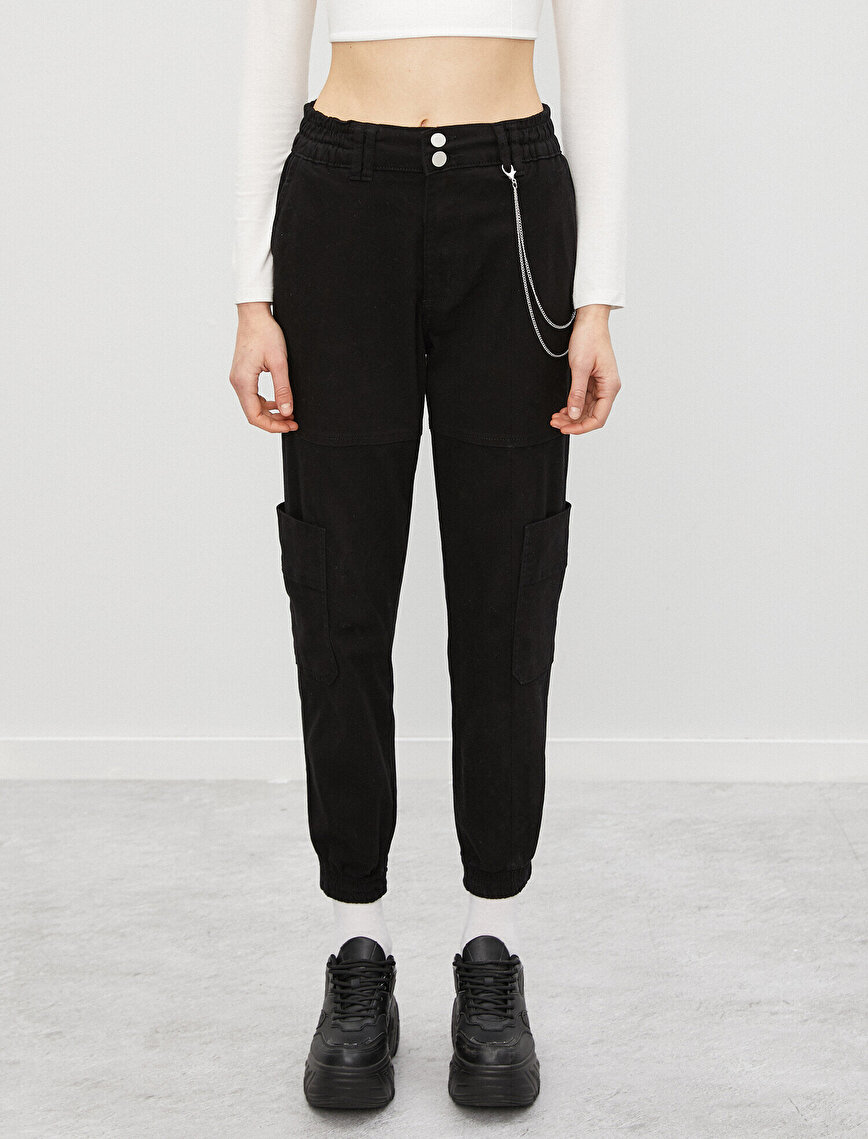 Cotton Chain Detailed High Waist Jogger Trousers