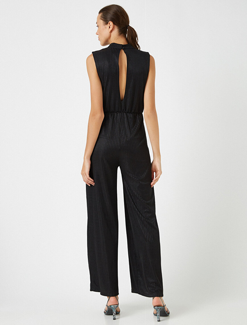 Wide Leg Window Detailed Jumpsuit