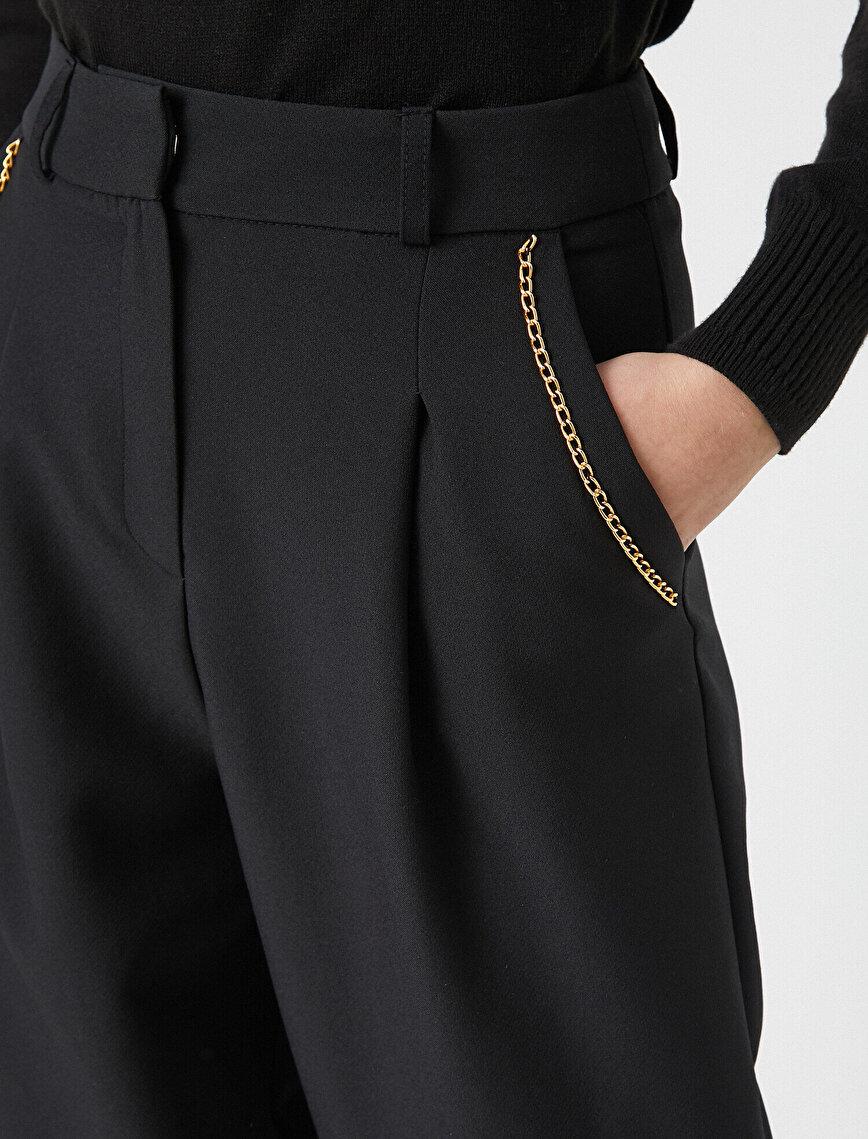 Cepli Zincir Detaylı Pantolon