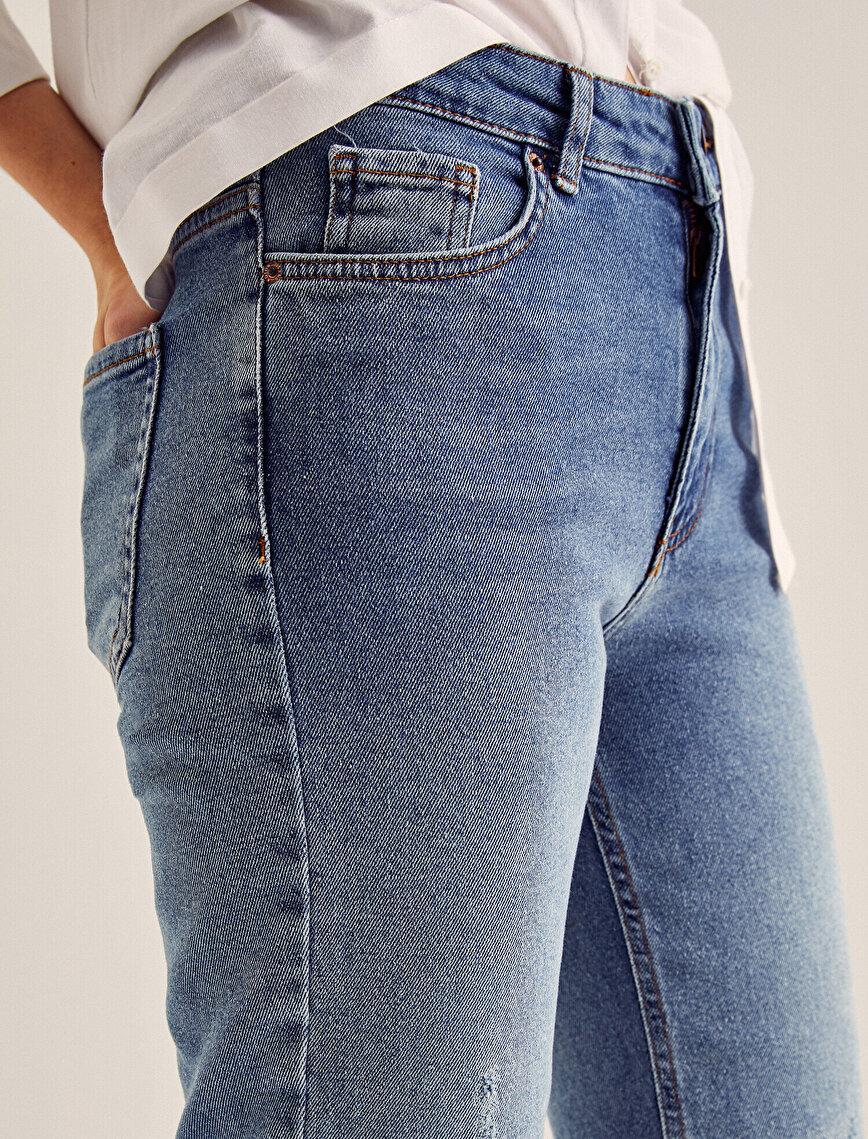 Eve Slim Jean - Yüksek Bel Normal Kesim Hafif Düz Paça Pantolon