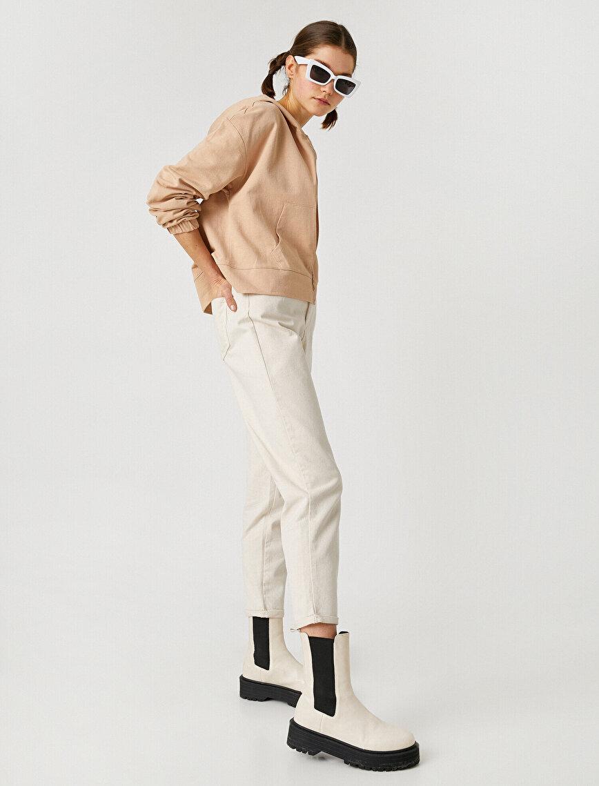 %100 Pamuk Mom Jean - Normal Bel Dar Kesim Dar Paça Pantolon