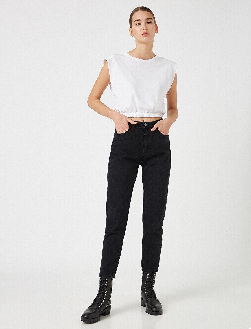 Respect Life   Yaşama Saygı - %100 Organik Pamuklu Mom Jean - Yüksek Bel Rahat Kesim Dar Paça Pantolon