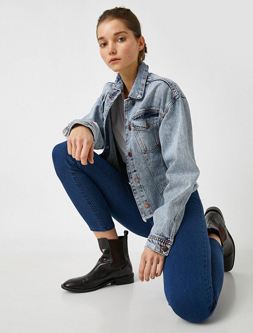 Carmen Jean - Yüksek Bel Dar Kesim Dar Paça Pantolon