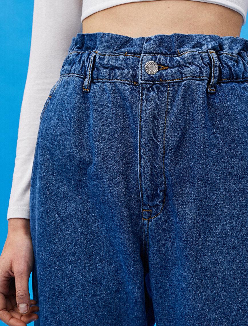 Baggy Jean - Normal Bel Beli Lastikli Rahat Kesim Hafif Düz Paça Pantolon