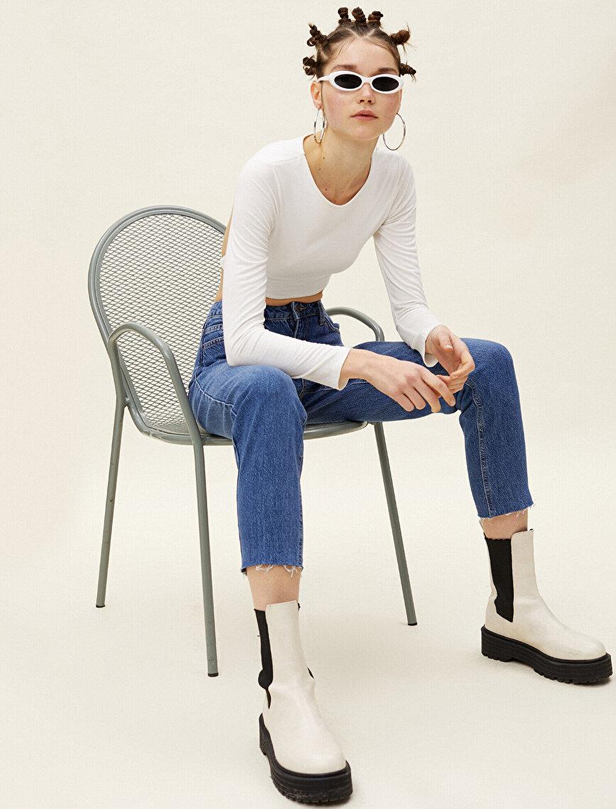 Mom Slim Jean - Yüksek Bel Hafif Dar Kesim Dar Paça Pantolon