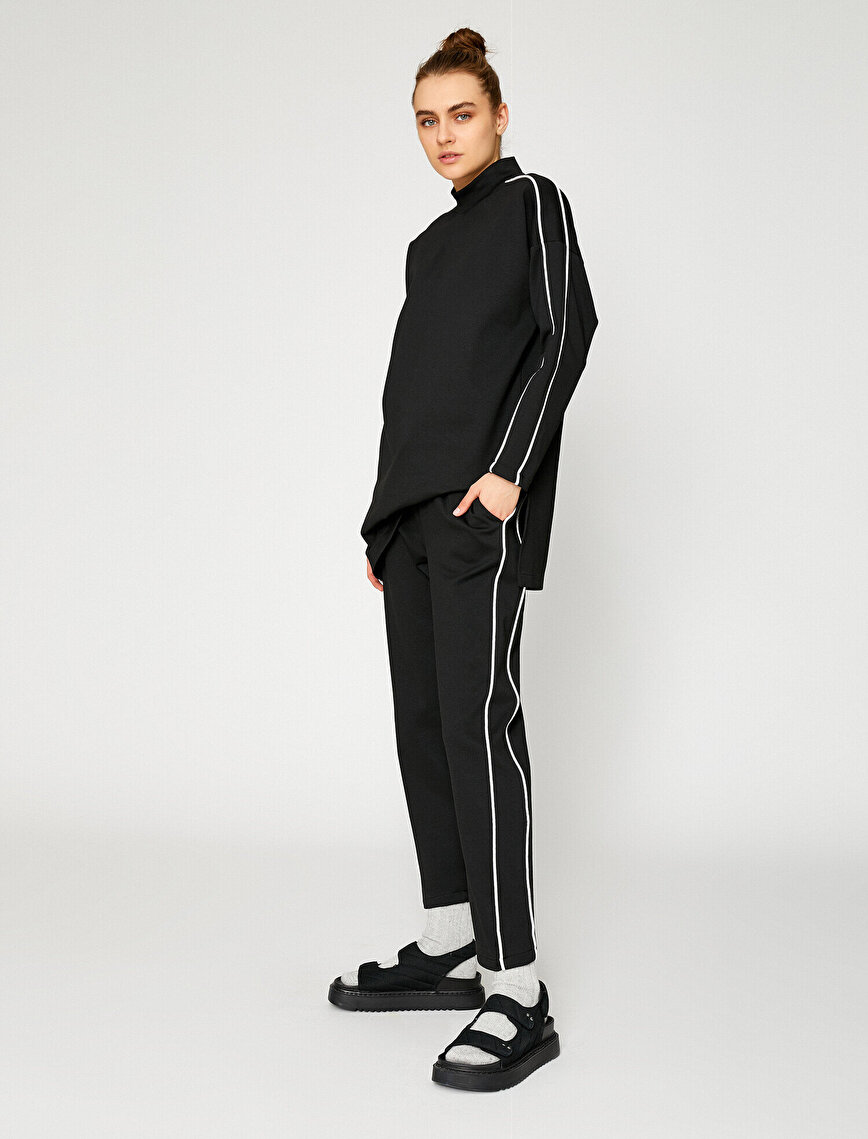 Pamuklu Şerit Detaylı Pantolon