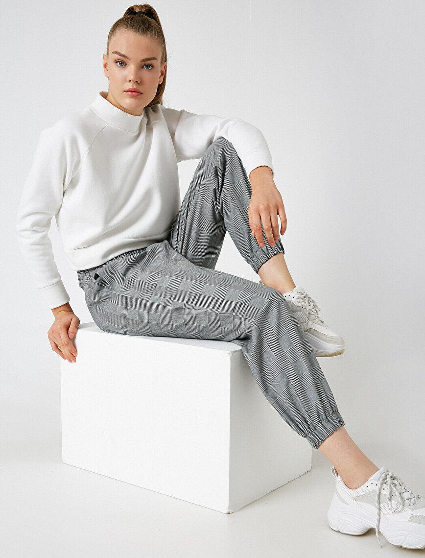Striped Buttoned Jogger Trousers