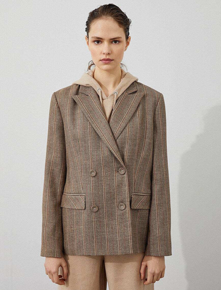 Arzu Sabancı for Koton Button Detailed Blazer Jacket