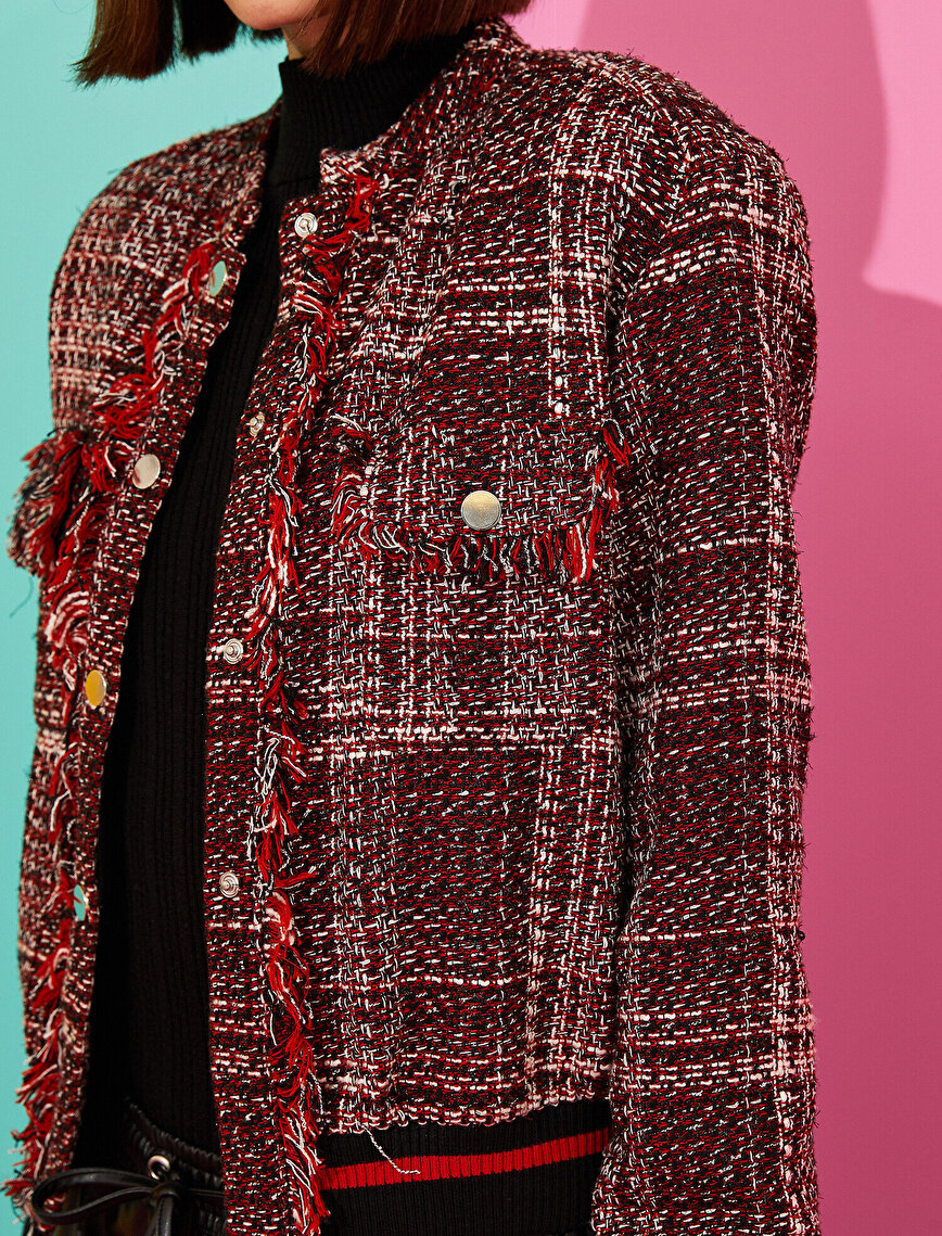 Checked Tassel Detailed Bomber Jacket
