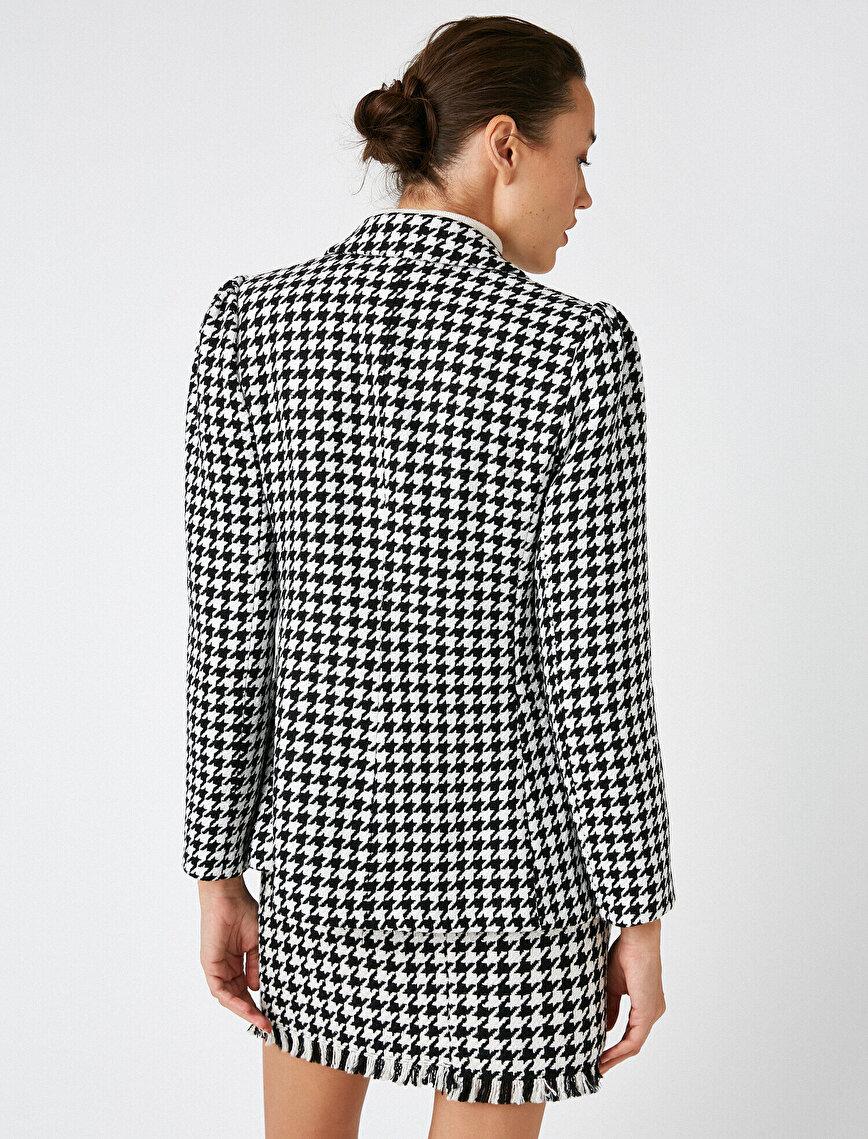 Houndstooth Pocket Detailed Blazer Jacket