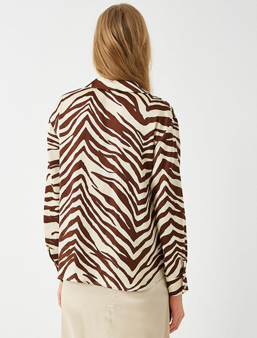 Saten Zebra Desenli Gömlek