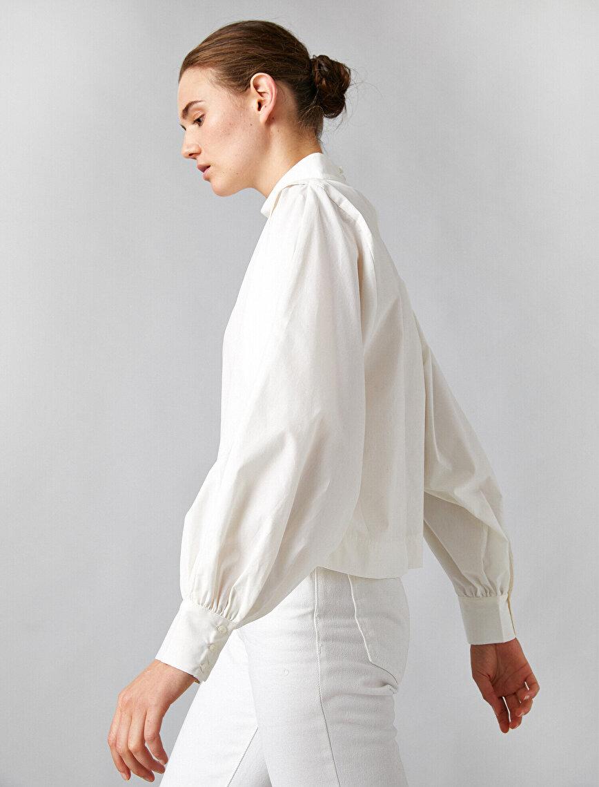 %100 Pamuk Mandarin Yaka Uzun Kollu Poplin Bluz
