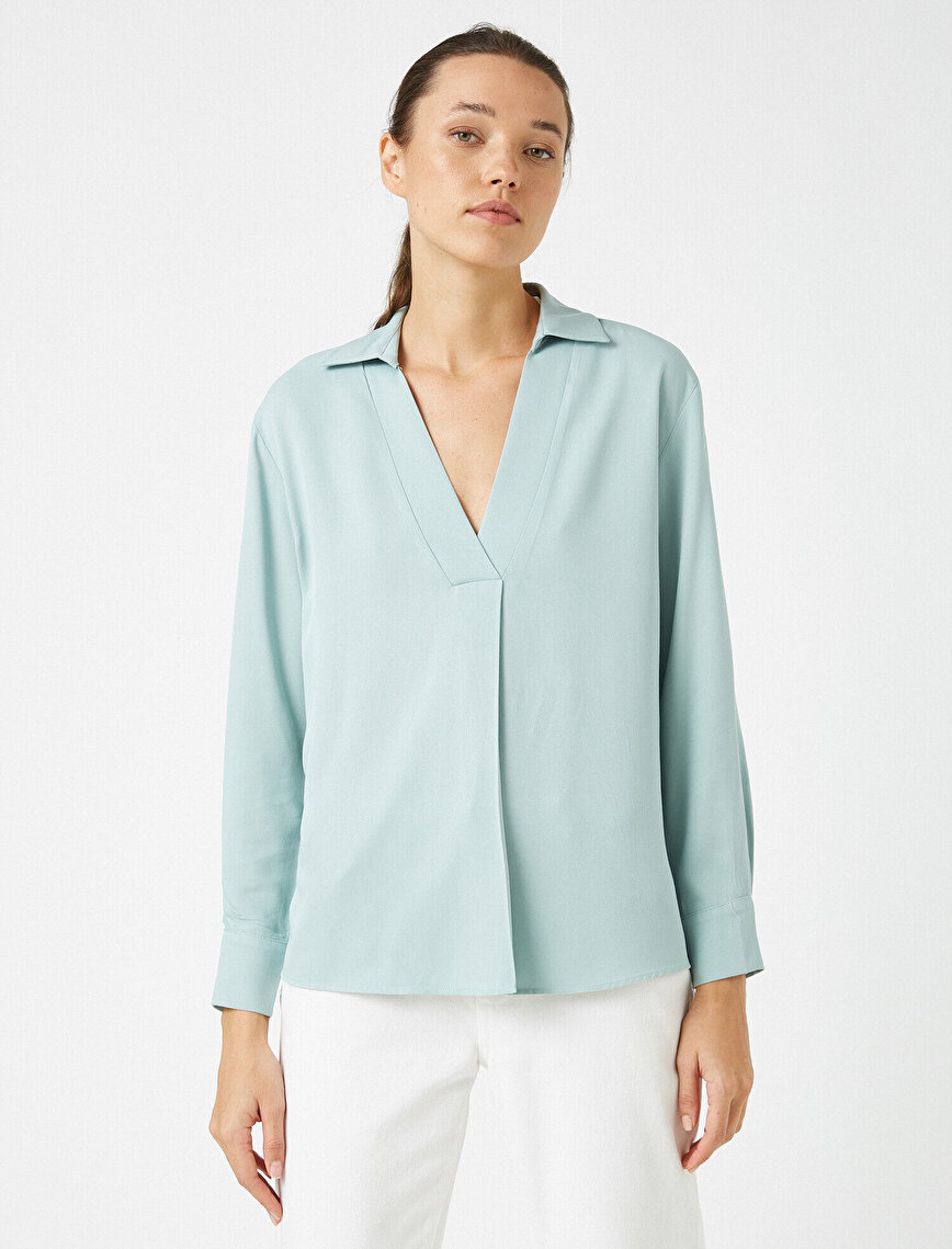 Respect Life | Yaşama Saygı - Shirt Neck Long Sleeve Blouse