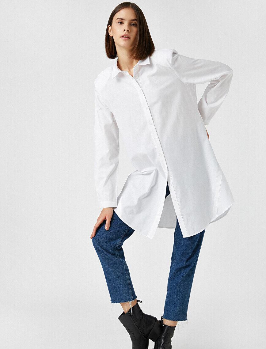 Pamuklu Gömlek Yaka Tunik