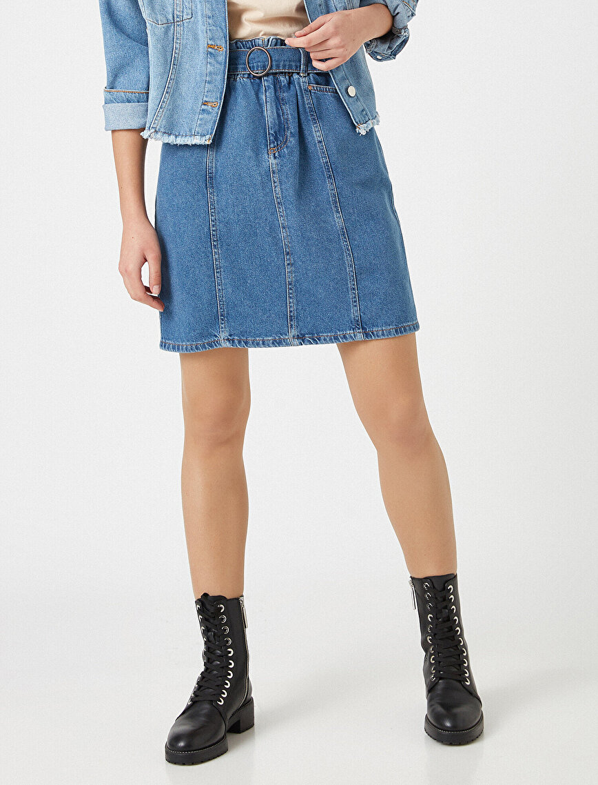 Respect Life   Yaşama Saygı - 100% Organic Cotton Belted Mini Jean Skirt