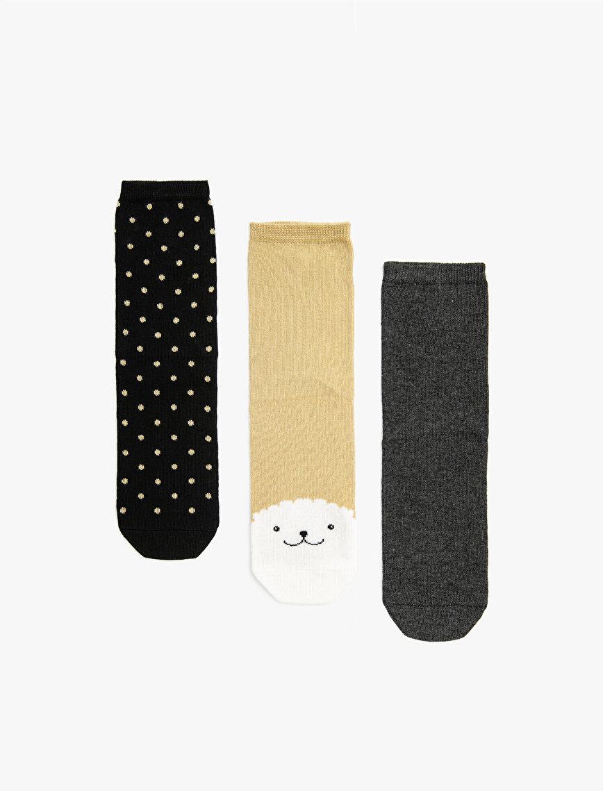 Woman Cotton 3 Pieces Socks Set