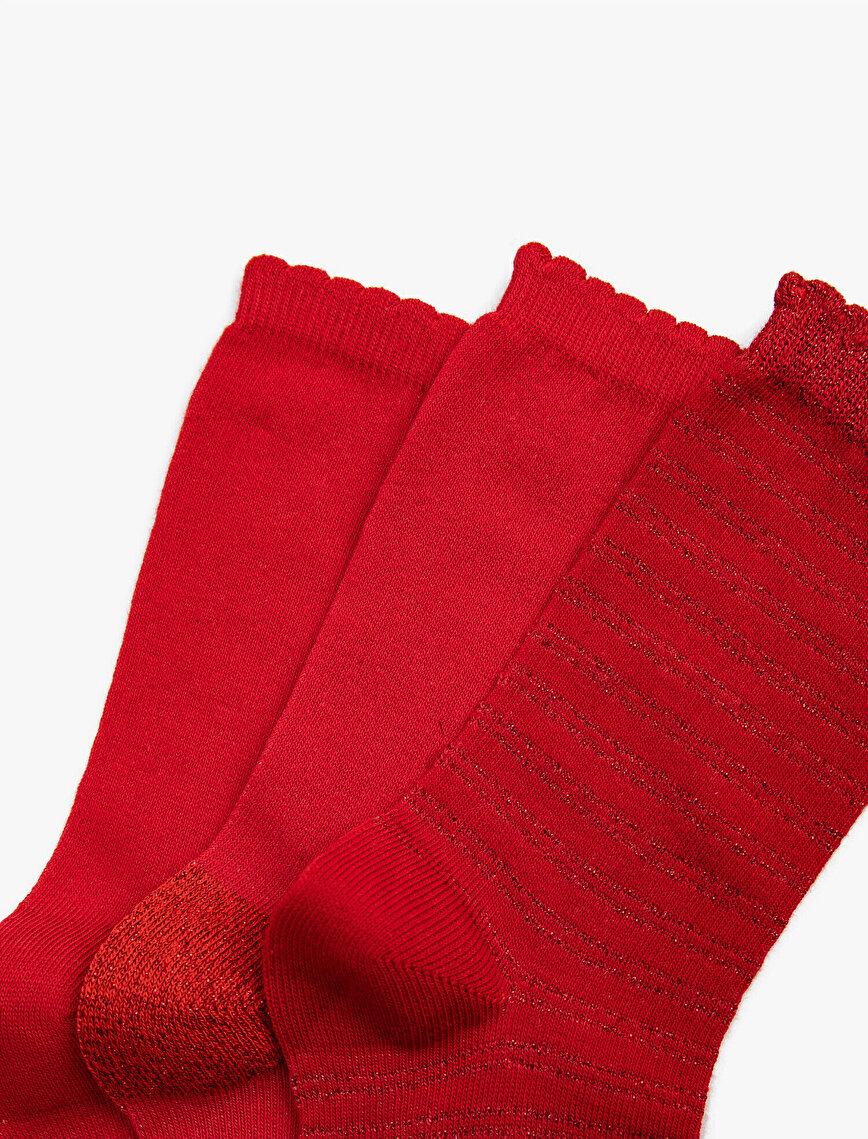 Woman 3 Pieces Silvery Socks Set