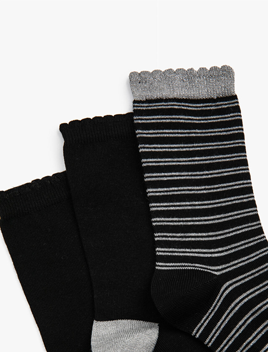 Woman 3 Pieces Silvery Socks Set