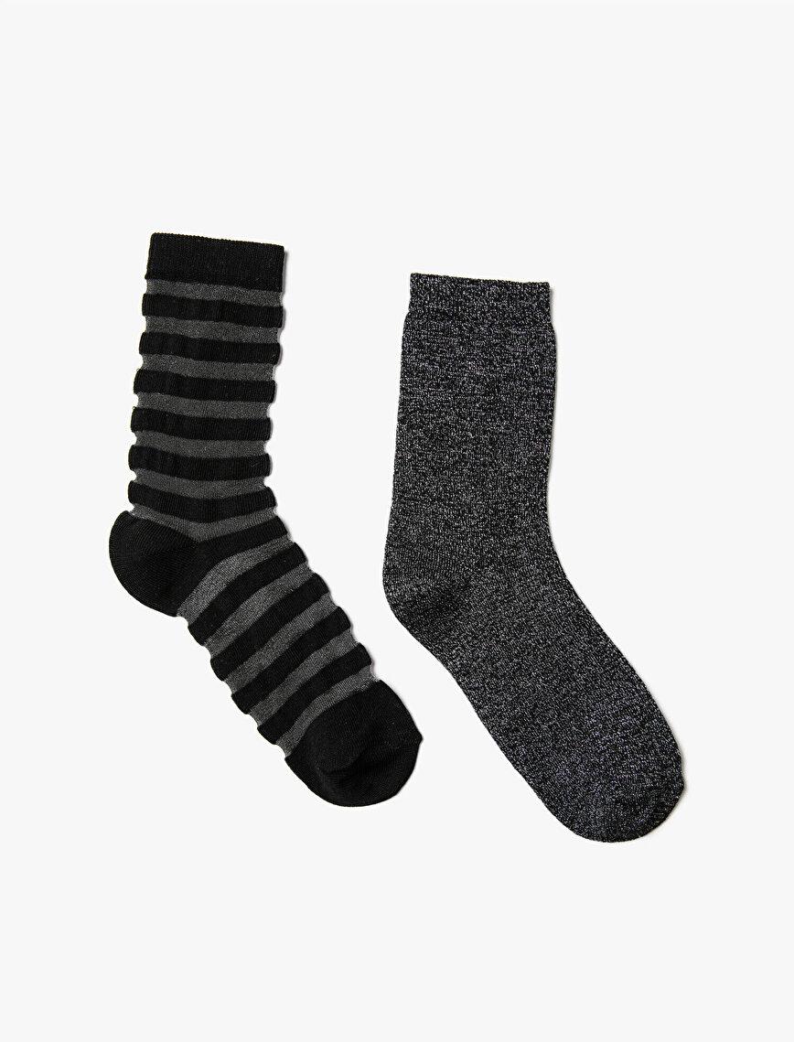 Kadın 2'li Çizgili Çorap Seti