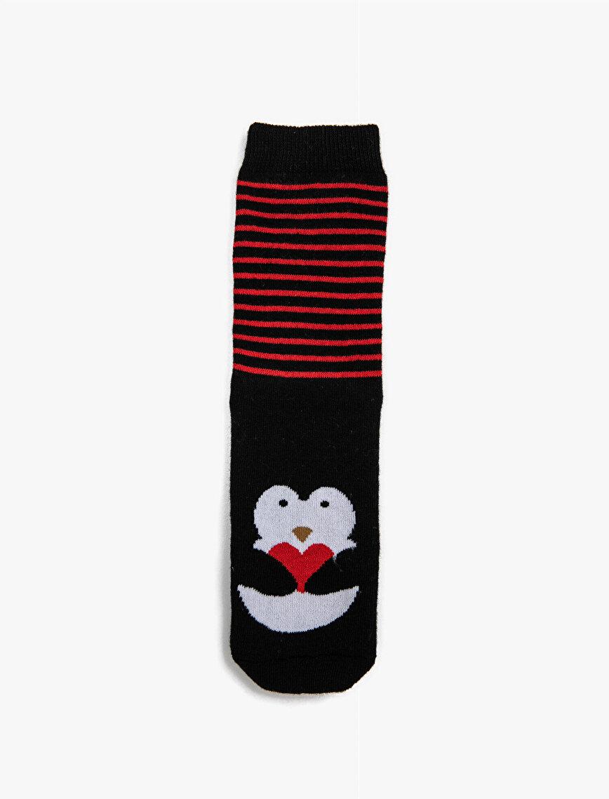 Kadın Pamuklu Çizgili Penguenli Çorap