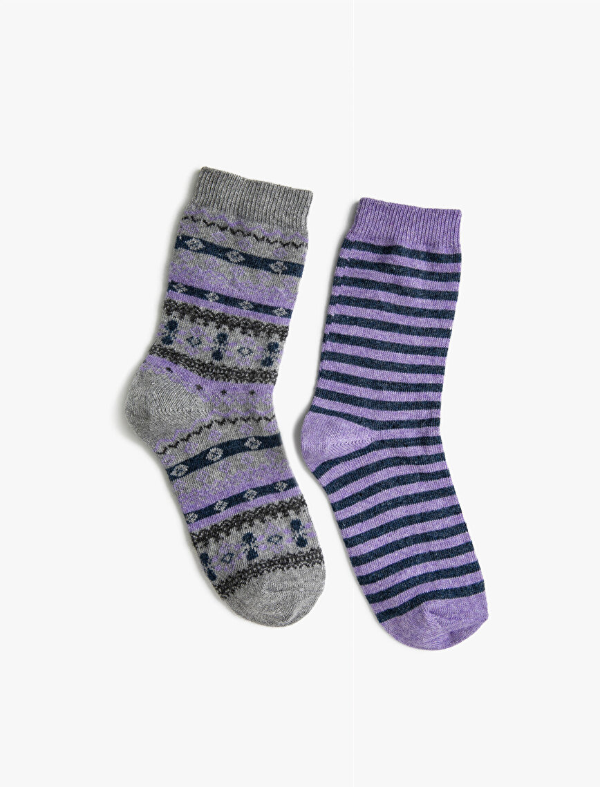 Woman 2 Pieces Striped Patterned Socks Sets