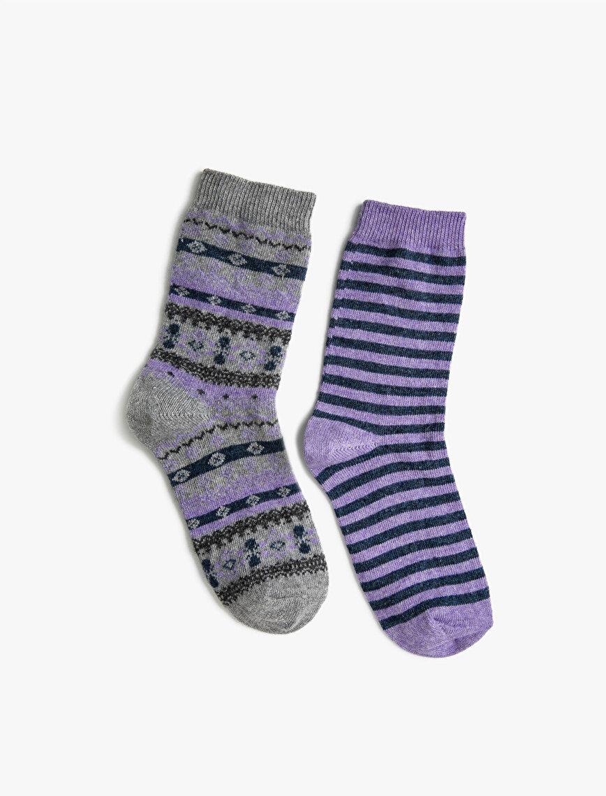 Kadın 2'li Çizgili Desenli Yün İçerikli Çorap Seti