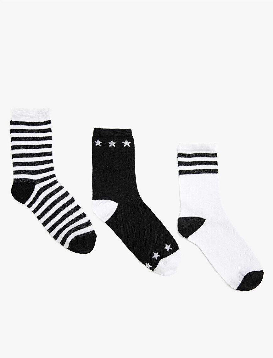 Kadın Çizgili Pamuklu 3'lü Çorap Seti